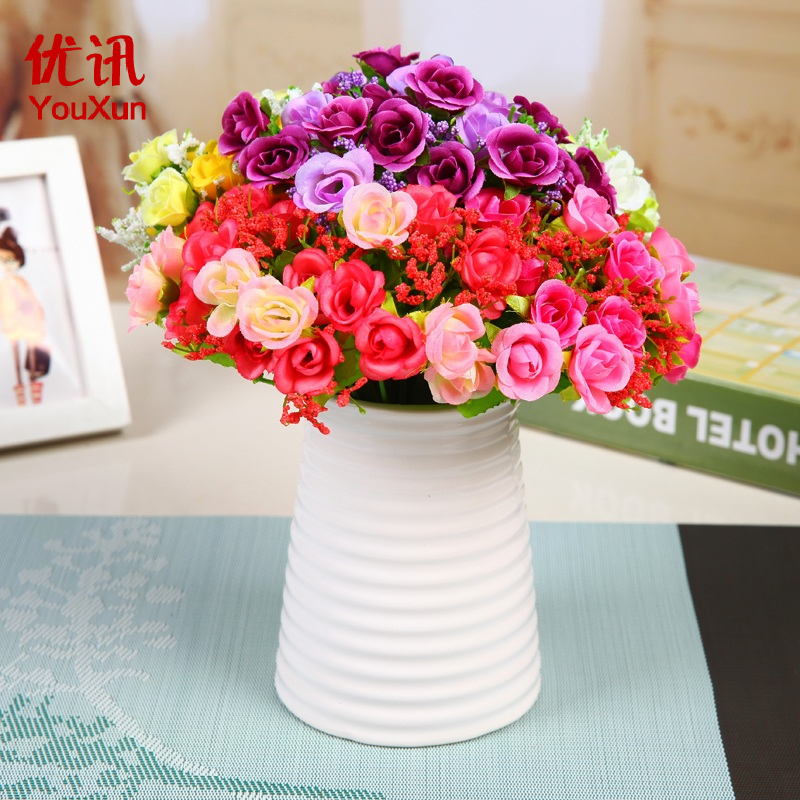 Simulation diamond rose silk flower simulation 21 diamond rose bud home decorative flowers placed flowers dried flower arrangement