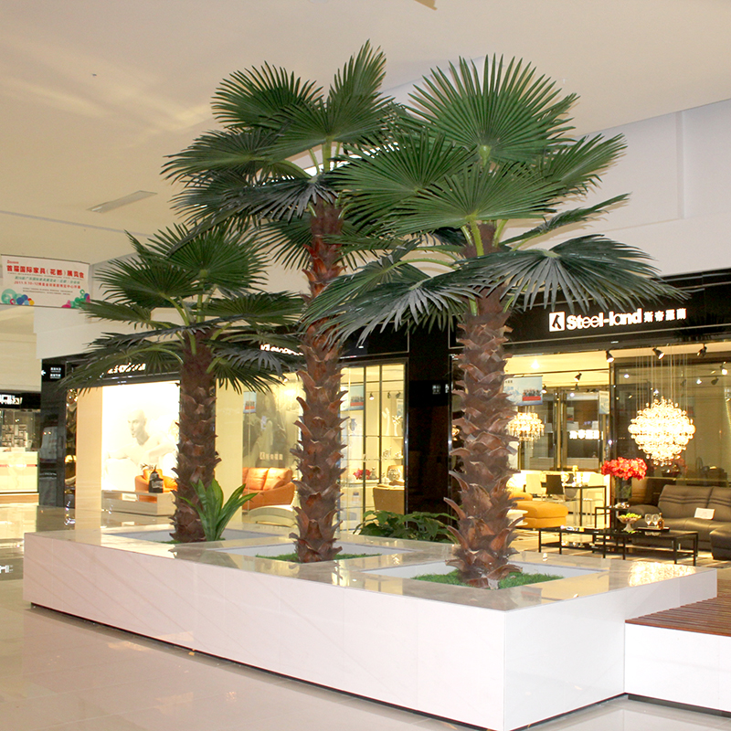 Simulation lambdoidal leather fake palm trees palm trees tropical landscape tree mall decoration indoor plants