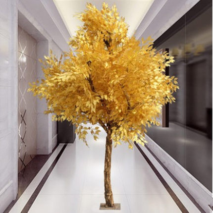 Simulation plant simulation of large golden banyan tree wishing tree mall lobby hotel placed feng shui gold banyan tree wood