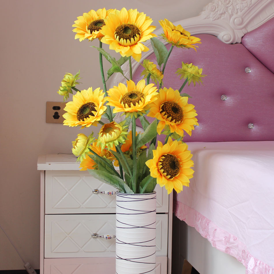 Simulation sunflower bouquet of flowers european decorative flower artificial flowers decorative flowers simulation suite living room interior furnishings