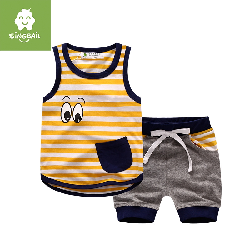 Singbail kids summer new baby infant boys and girls striped sleeveless suit vest shorts piece
