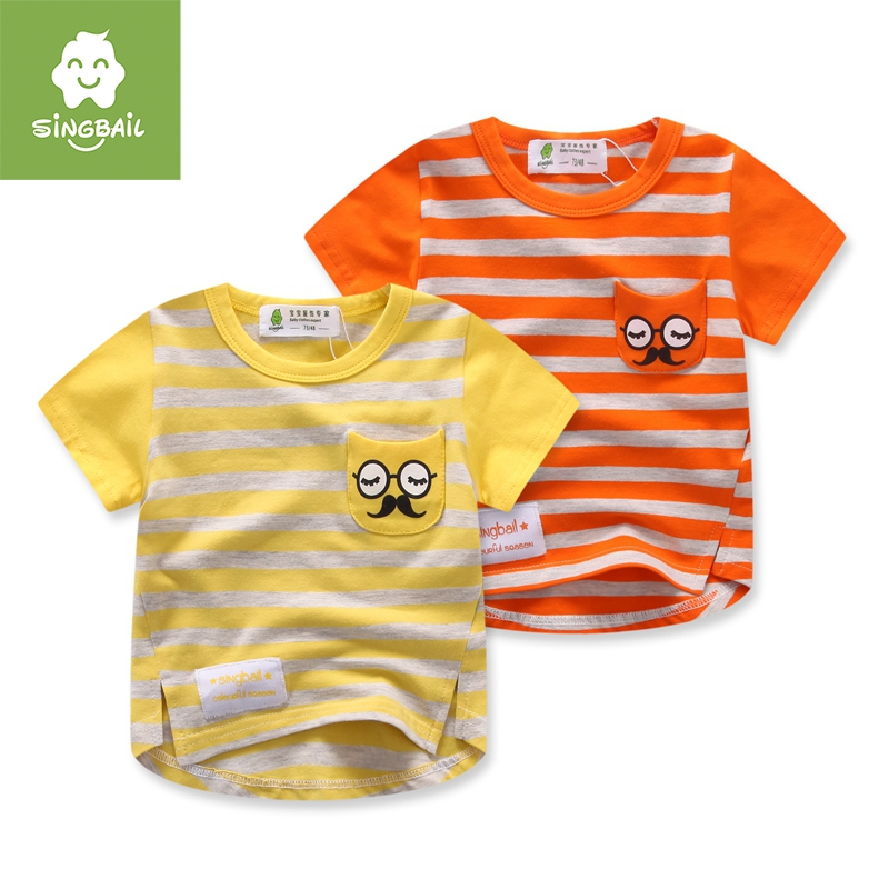 Singbail summer 1-2-3-year-old childrenwear short sleeve t-shirt infant baby boys and girls cartoon round neck t-shirt