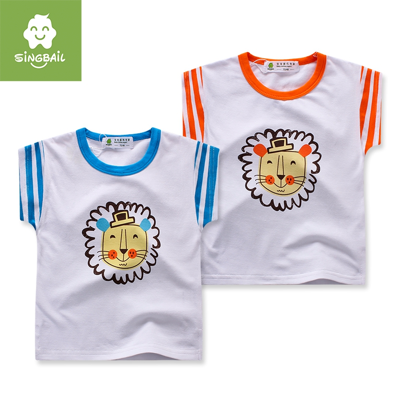 Singbail summer childrenwear 1-2-3-year-old fashion t-shirts for children infant baby boys and girls cartoon t-shirt