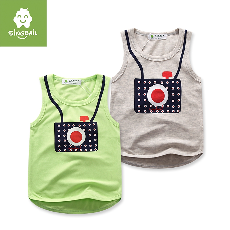 Singbail summer new infant girls and boys cartoon vest baby boy in casual and comfortable bottoming shirt