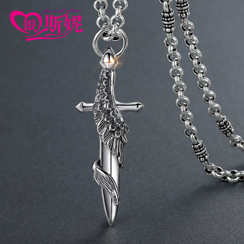 Sini silver necklace retro male thai silver necklace s925 silver necklace men thai silver pendant silver pendant soul calibur