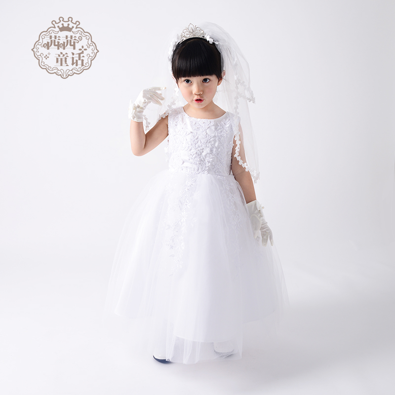 Sissy fairy long section of small children's dresses flower girl dresses for girls snow white princess dress wedding dress evening dress female spring