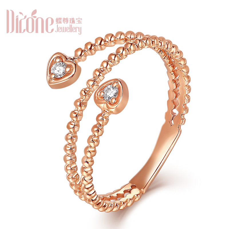 Skipperling statue jewelry k gold diamond ring rose gold color gold double diamond inlay diamond girlfriends korean version of the qing new technology