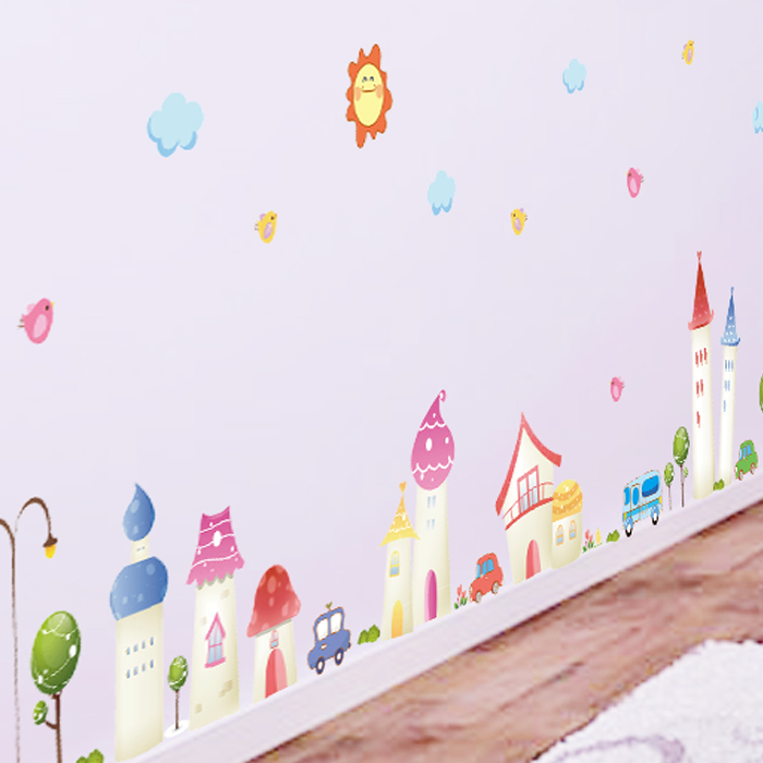 Skirting waist removable wall stickers living room sofa backdrop bedroom children's room cartoon decorative castle town