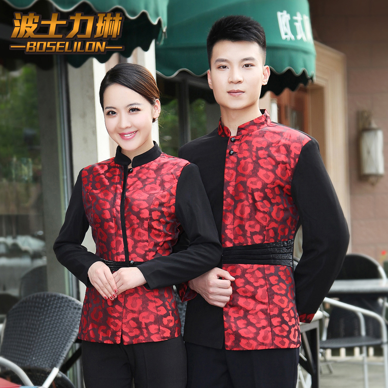 Sleeved overalls hotel restaurant waiter fall and winter clothes hot pot restaurant shop diabla shop catering work uniforms