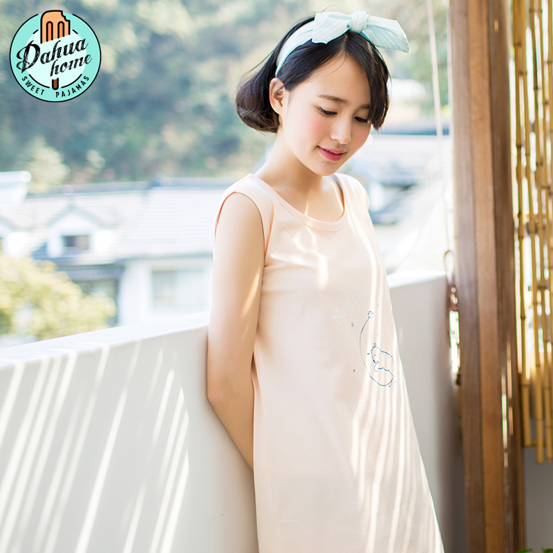 Slim sexy sleeveless nightgown female summer cotton pajamas cute cotton pajamas female summer korean version of the vest skirt