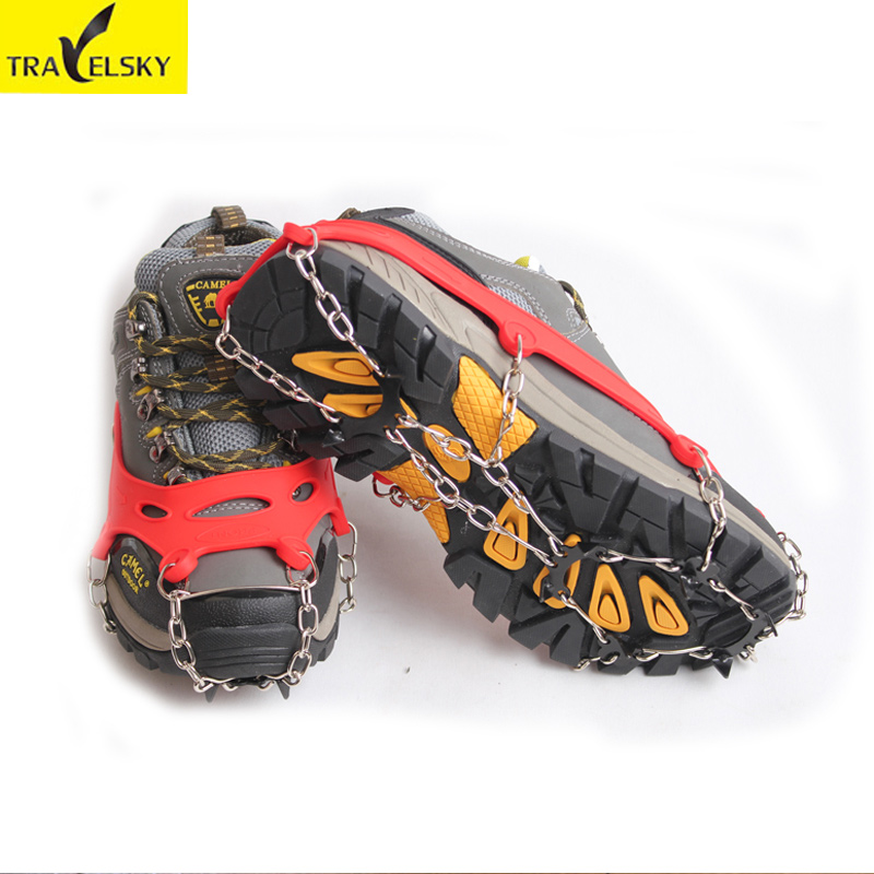 Slip shoe crampons snow climbing outdoor climbing spikes chain standing snow claw 8 teeth silicone simple ice grip