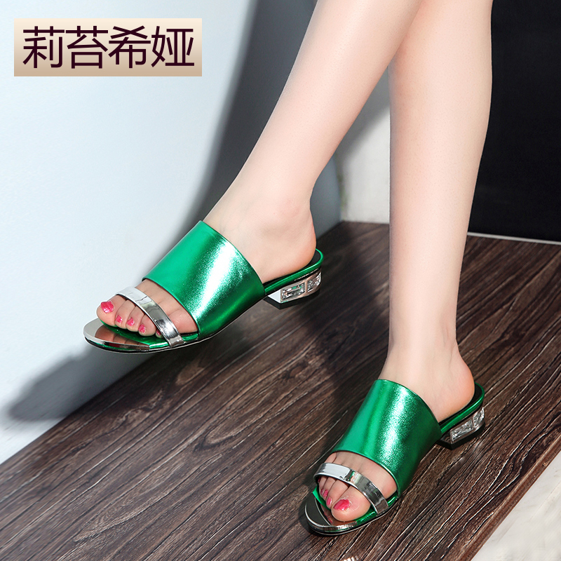 Slippers female summer fashion new fish head thick with word slippers in leather boots with the square root of female sandals and slippers sandals casual sandals tide