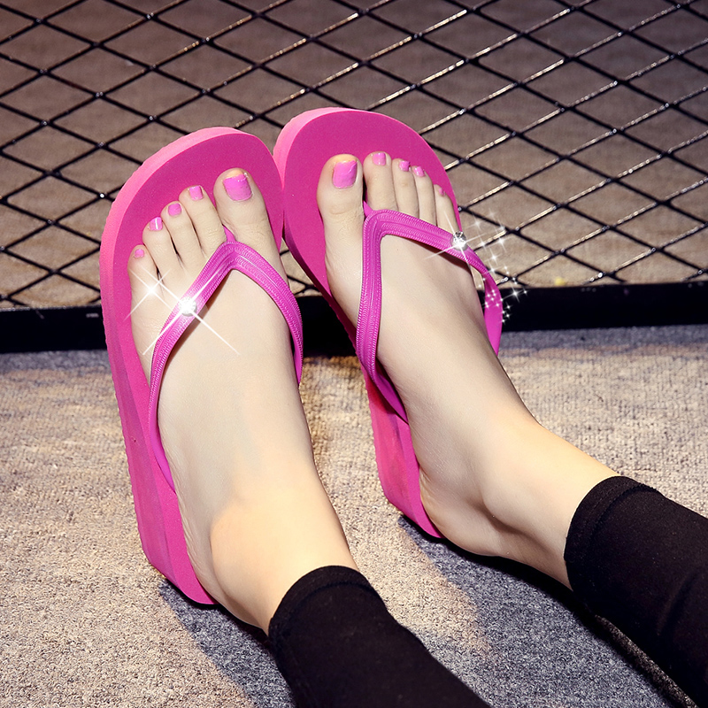 4ce93d1e89684 Get Quotations · Slippers female summer korean large size can simply love  the beach slope with thick crust with