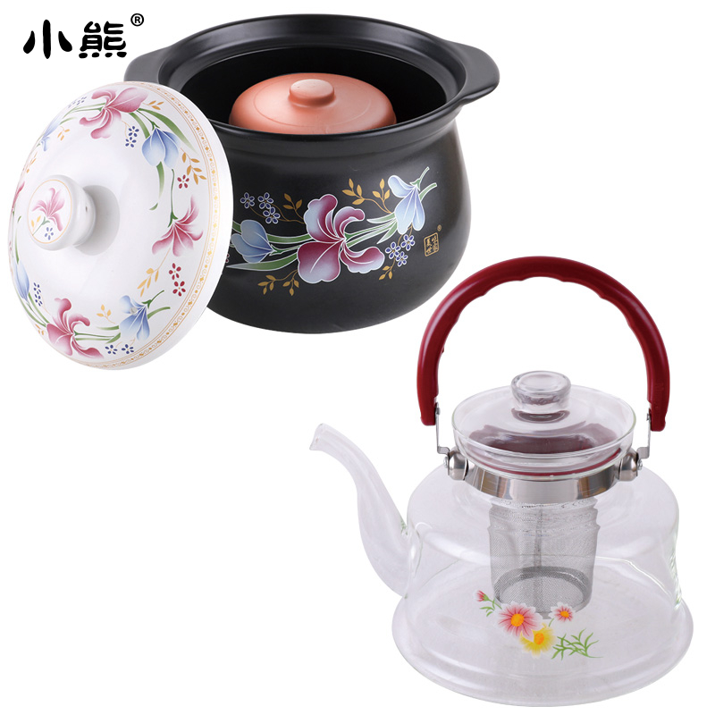 Slow cooker 3.5 liters baihe.com deep casserole + 1 + clay pot casserole porridge soup pot to boil water to make tea glass Teapot pot