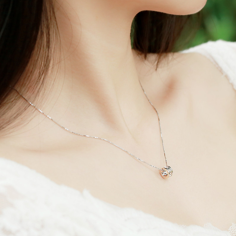 Small and simple twinstyle 925 silver jewelry female roman numerals creative wheel transporter necklace clavicle chain korea