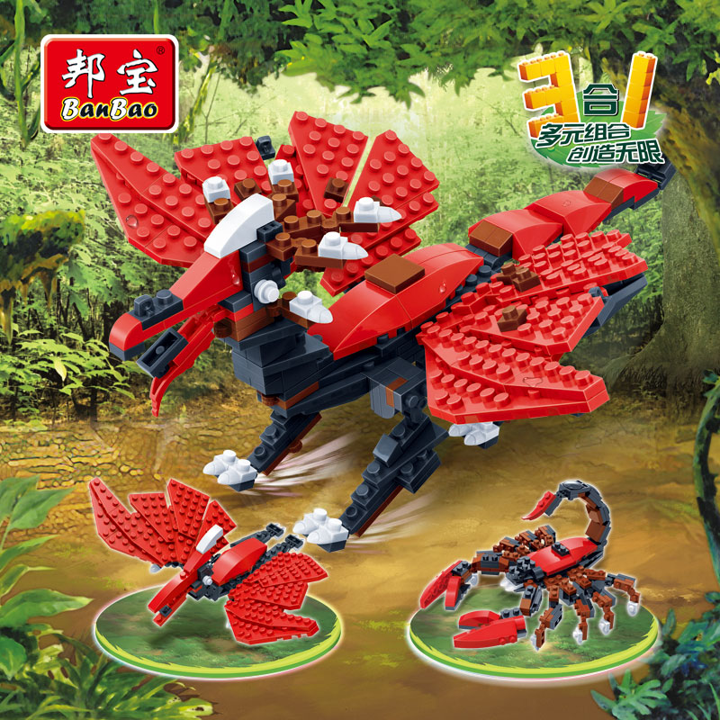 [Small particles] bang bao new educational toy building blocks animal creative 3 in more than 1 scorpionä¹é©¬pterosaurs 6855
