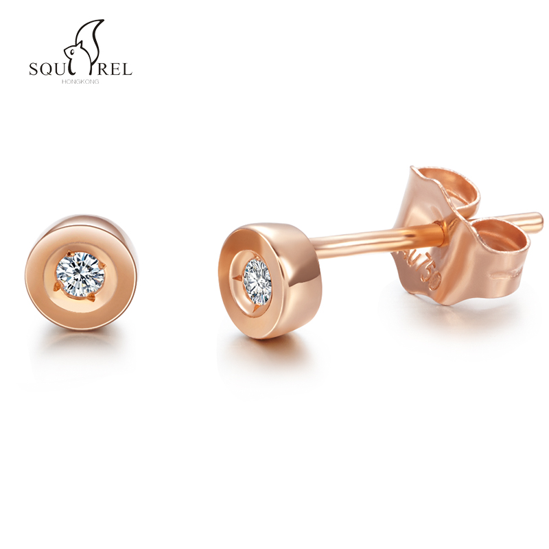 Small squirrel round diamond rose gold earrings female jewelry earrings simple earrings korean national jewelry fashion personality