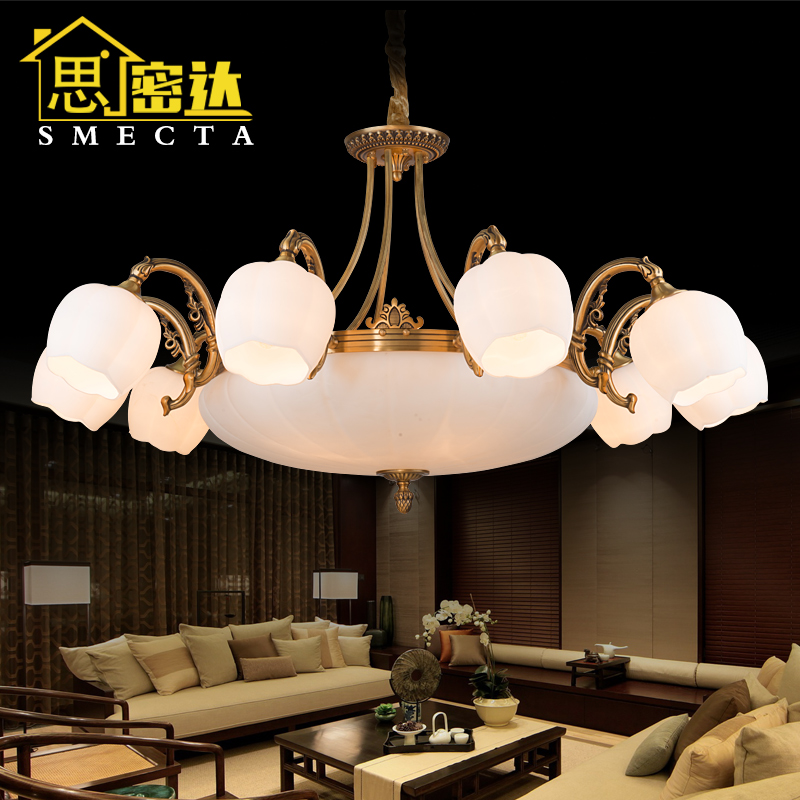 Smecta euclidian all copper imitation marble chandelier lighting retro american minimalist restaurant lamps bedroom living room ceiling
