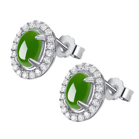 Smooth natural and tianbi yu spinach green jade 925 silver inlay zircon earrings ladies fashion big square ht43