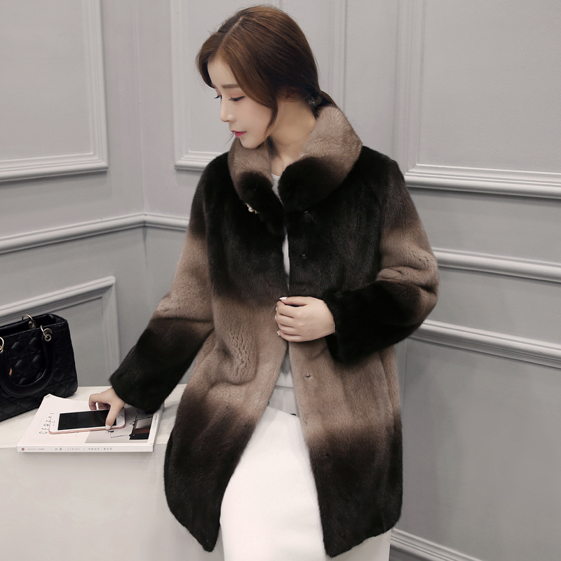 Snow velvet makeup imported mink whole mink grass female fur coat and long sections sea ning 2016 new coat