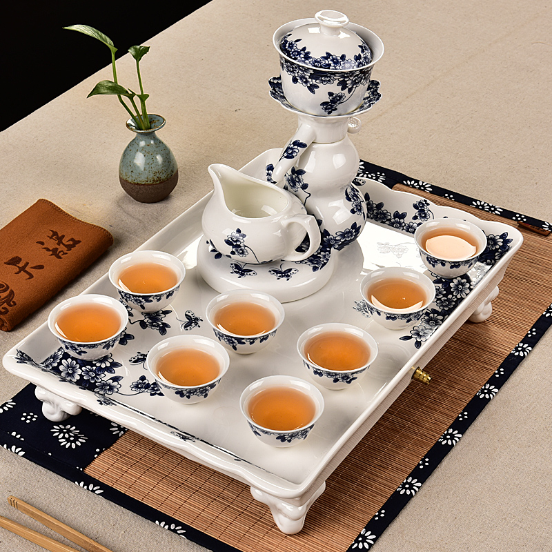 Snow was in the beginning days of semi-automatic hot ceramic blue and white porcelain tea set package of blue and white porcelain tea sets tea tray kit