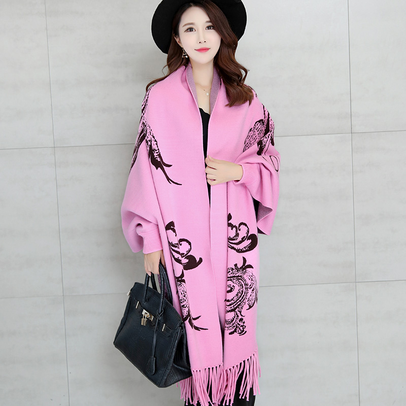0fa8b87757 Get Quotations · Snow xuefei autumn and winter cloak loose big yards ladies  woolen sweater and long sections needle