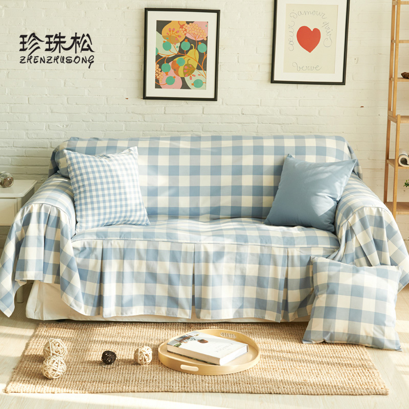 Sofa towel full cover sofa cushion the fall and winter cotton yarn dyed euclidian large plaid fabric sofa cushion sofa slipcover slip cover pastoral