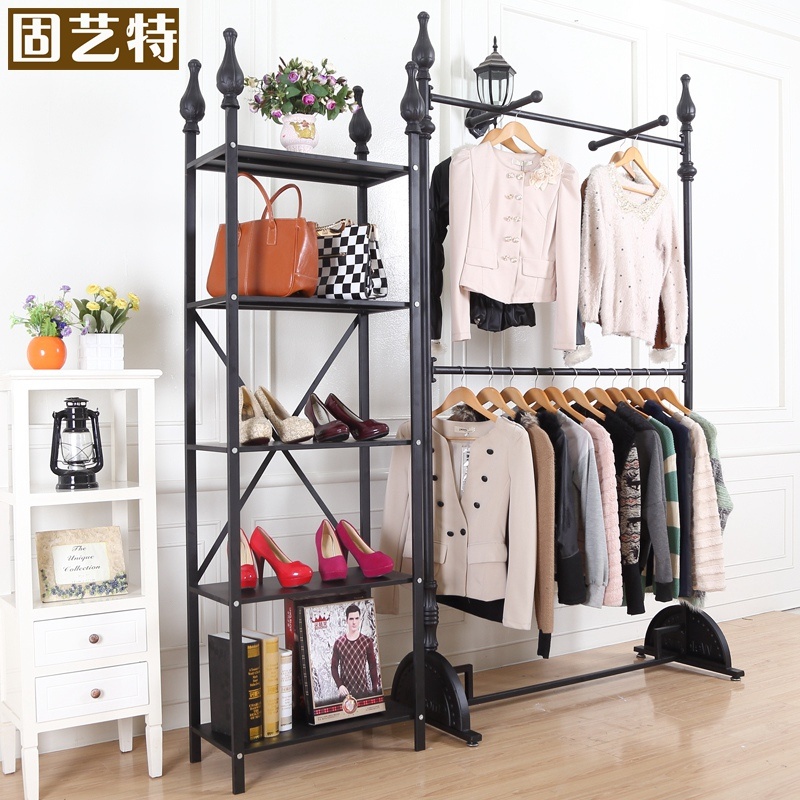 Solid special arts double wrought iron clothing rack clothing store shelf display rack wrought iron floor display rack