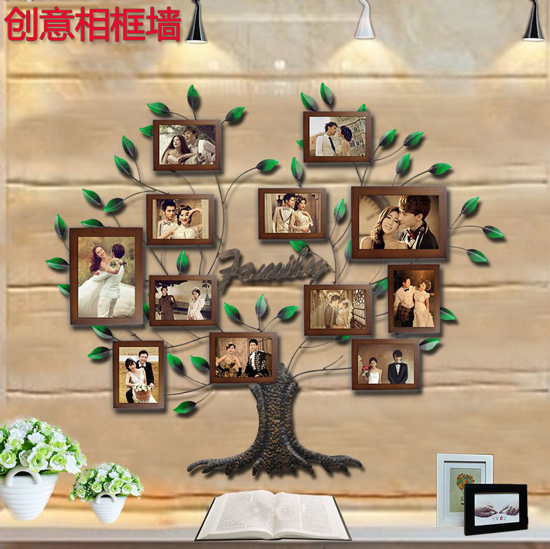 Solid wood frame wall photo wall living room wall creative photo wall photo frame wall combination of european living room bedroom wall photo