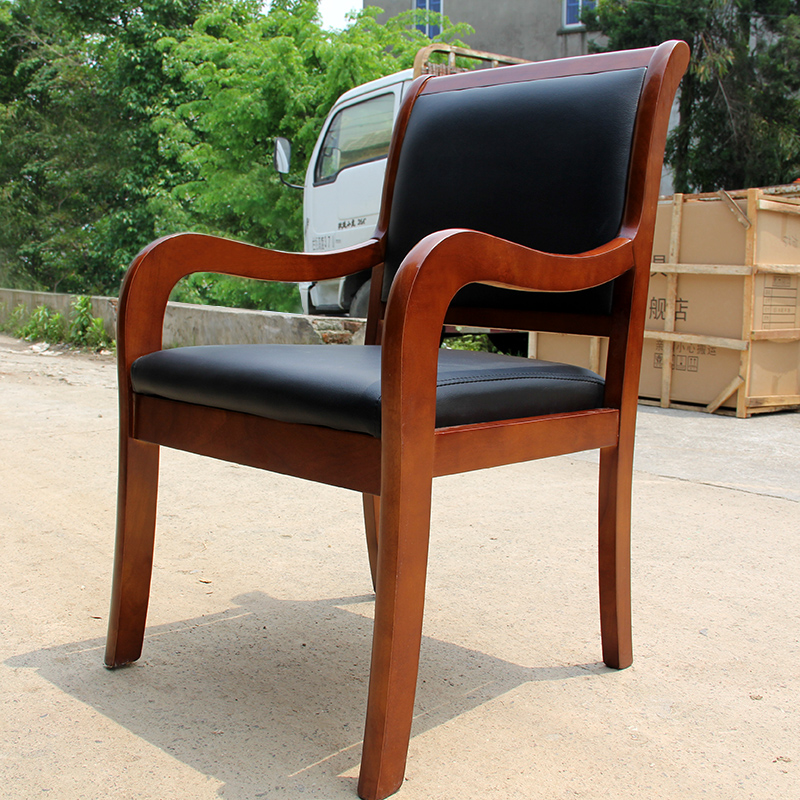 Solid wood legs leather conference chair office chair chair chair chess mahjong restaurant meal stool computer chair parlor chair