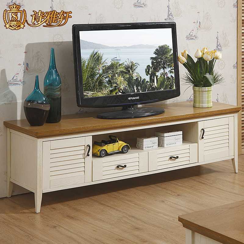 Solid Wood Tv Cabinet Mediterranean To Do The Old Retro White Storage Cabinets