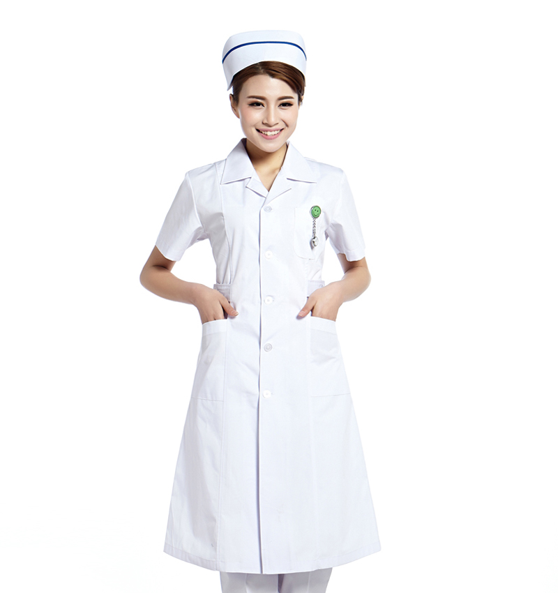 Song xin jiu jiu nurse female winter long sleeve dress summer beauty service doctors serving a white lab coat pink and blue pointed collar