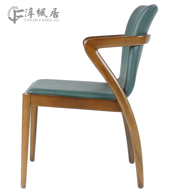 Hearty Nordic Solid Wood Dining Chair Modern Minimalist Hotel Restaurant Armrest Chair Office New Chinese Coffee Chair Café Furniture Café Chairs