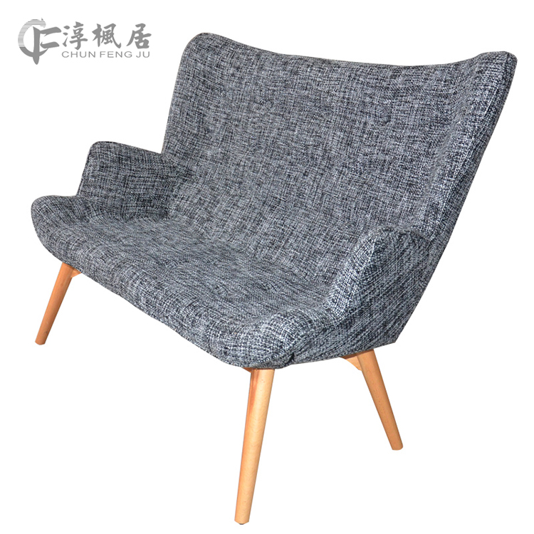 Soon maple home nordic wood sofa fabric sofa chair double chair balcony lounge chair combination lounge chair with foot