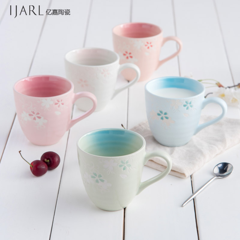 Soul japanese korean ceramic cup mug cup coffee cup couple cups milk cup cherry