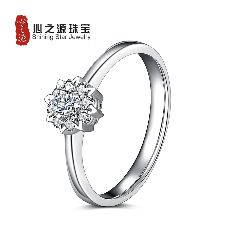 Source heart jewelry [flowers] 1 karat k gold effect group inlay diamond wedding ring diamond ring marry