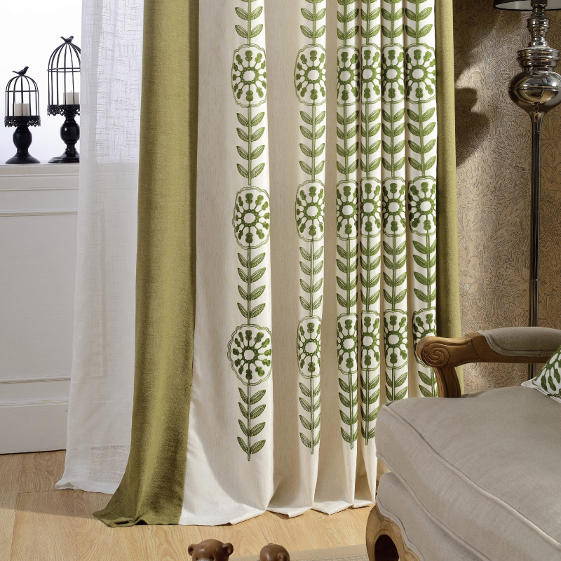 South Court Custom Curtains Living Room Finished Windows Cotton Stitching Embroidered Linen Cloth Bedroom Garden