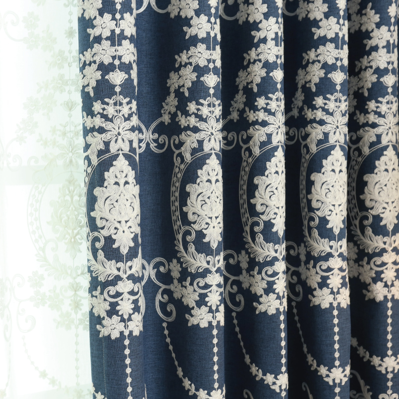 South court minimalist modern cotton embroidered curtains custom finished yarn fabric living room bedroom windows window