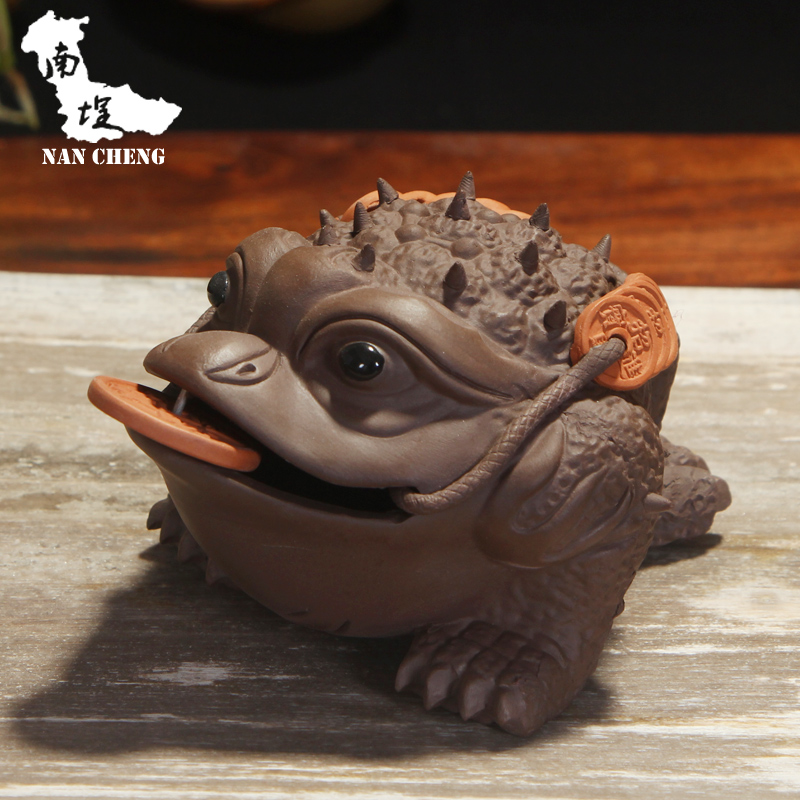 South courtyard yixing purple clay ore famous purple golden toad play tea tea tea pet boutique handmade ornaments trumpet