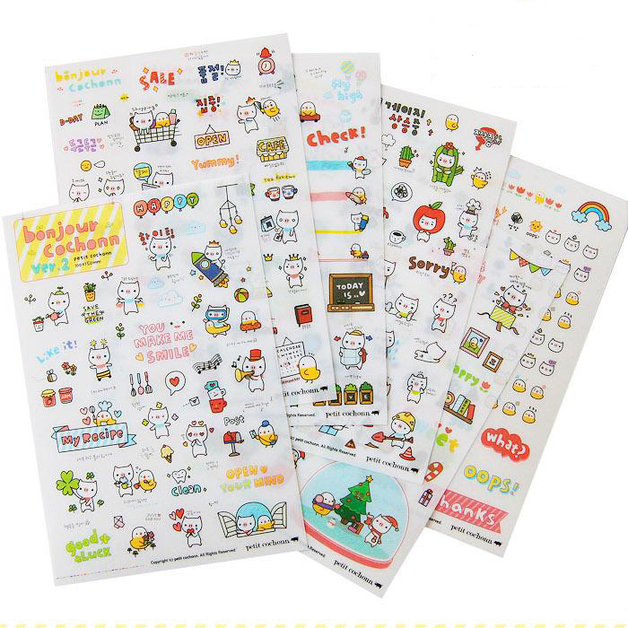 South korea creative stationery second generation of cartoon cute little pig diary stickers decorative sticker sticker 6 into