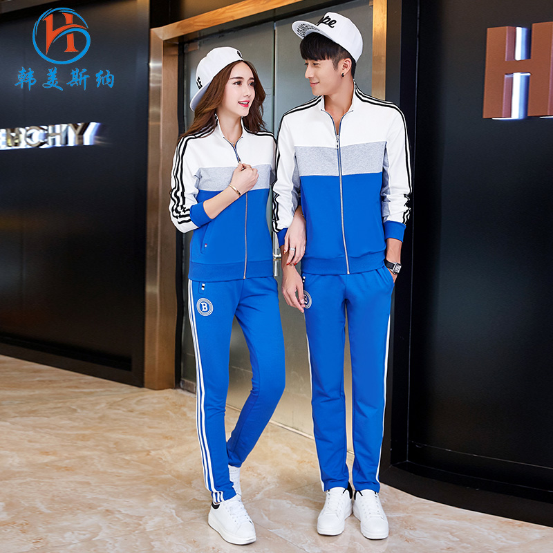 South korea gomez carolina couple ladies long sleeve sports suit autumn 2016 new men outdoor leisure sports suit spring and autumn