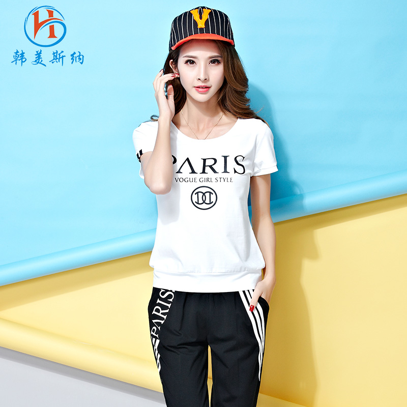 South korea gomez carolina sports suit female summer new 2016 korean version of loose short sleeve fashion casual trousers piece