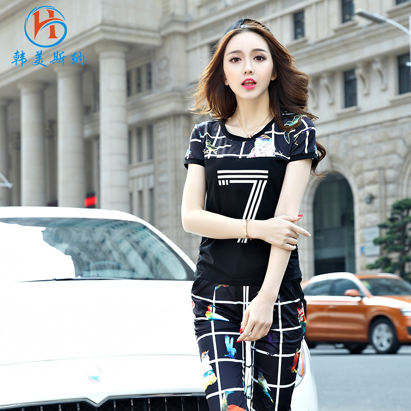 South korea gomez carolina summer new 2016 korean loose big yards was thin short sleeve casual sports pant suit female