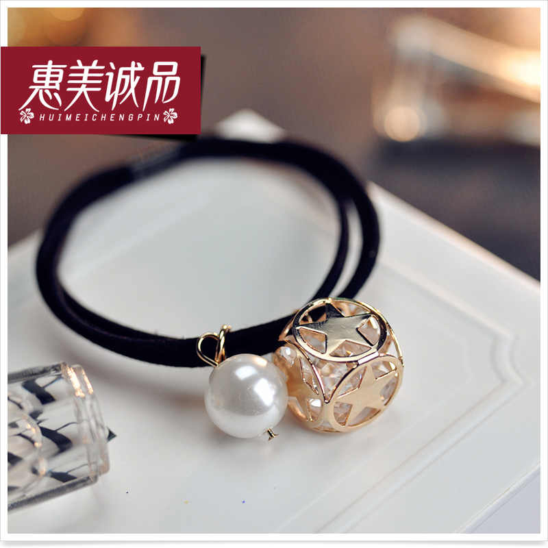 South korea hollow squares simple ladies diamond pearl hair ring hair rope tousheng rubber band headdress hair accessories korean version of the flash