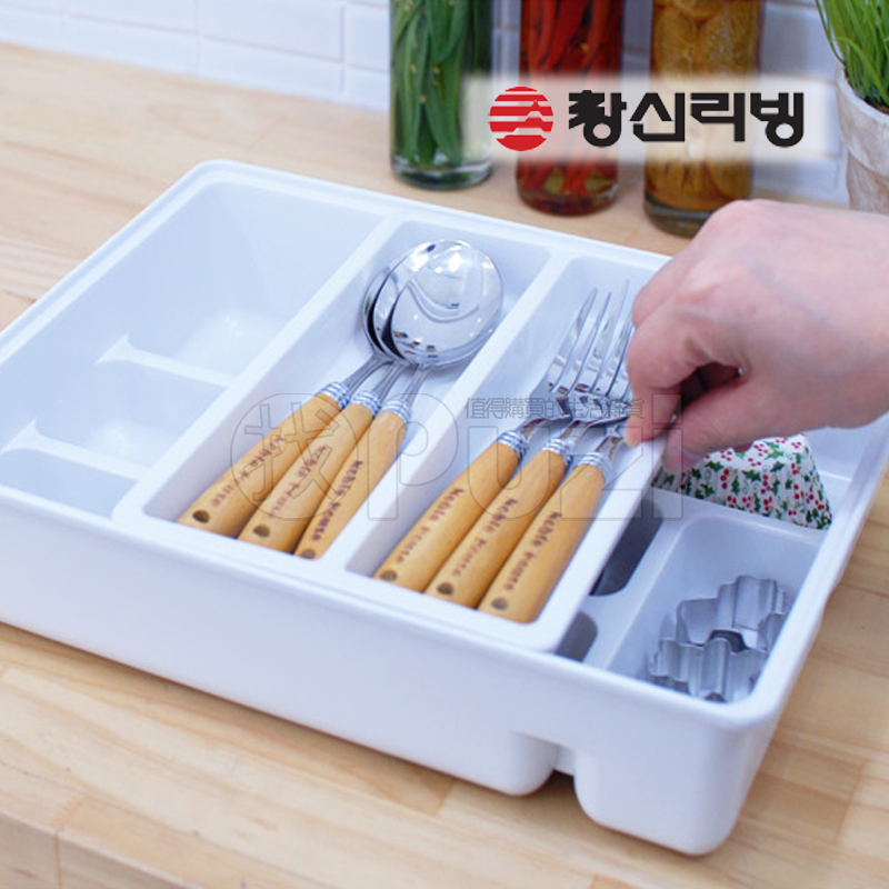 South korea imported stationery changsin double modular cutlery drawer sorting box storage box