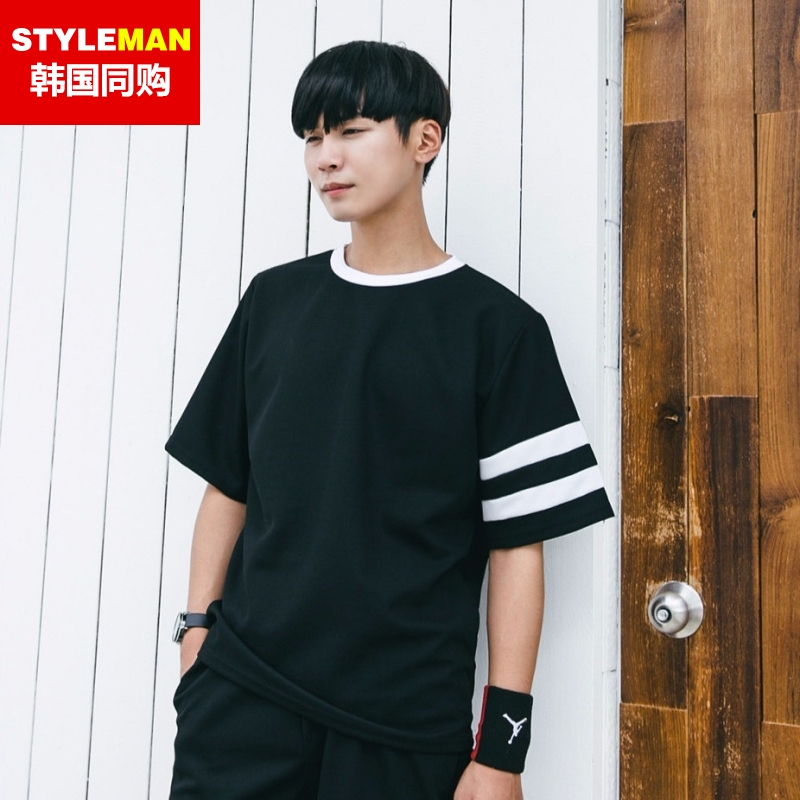 South korea Styleman2016 asymmetric sleeve hit color stitching design men's new summer t-shirt lovers