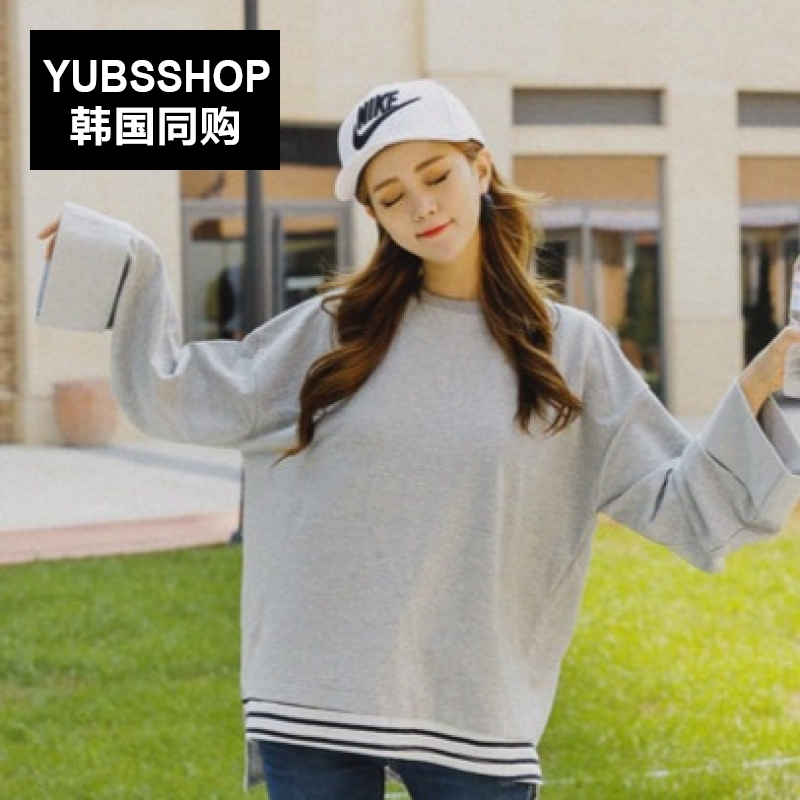 South korea YUBSSHOP2016 autumn korean version was thin college wind stitching swing low slits hem wide sleeves t-shirt