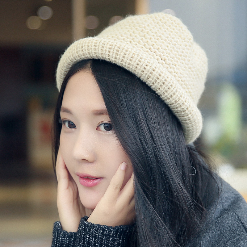 South korean fisherman hat bucket hats korean fashion knit winter hat wool hat in autumn and winter can love curling small hat female tide