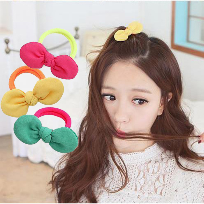 South korean hair accessories hair jewelry tousheng rubber band happiness knot wild bow tie hair rope headdress hair accessories hair ring korean version of the day