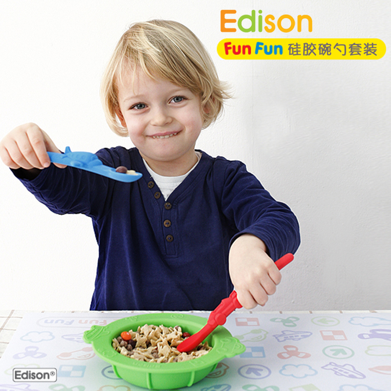 South korean imports of edison children tableware spoon soft head silicone baby spoon bowl suits baby food supplement bowl plate
